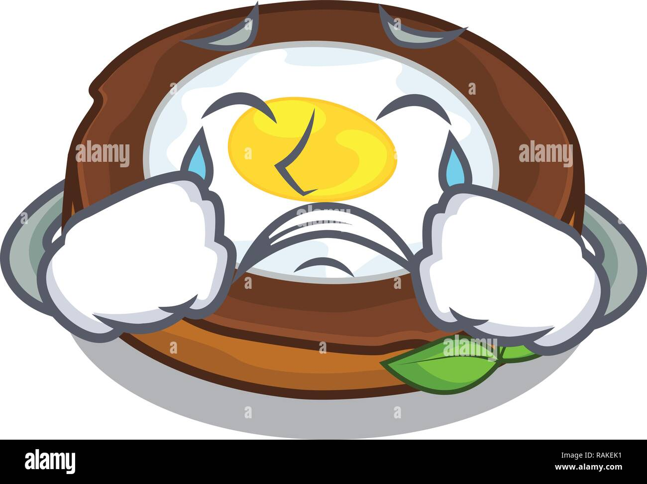 Crying egg scotch on character wood boards - Stock Vector