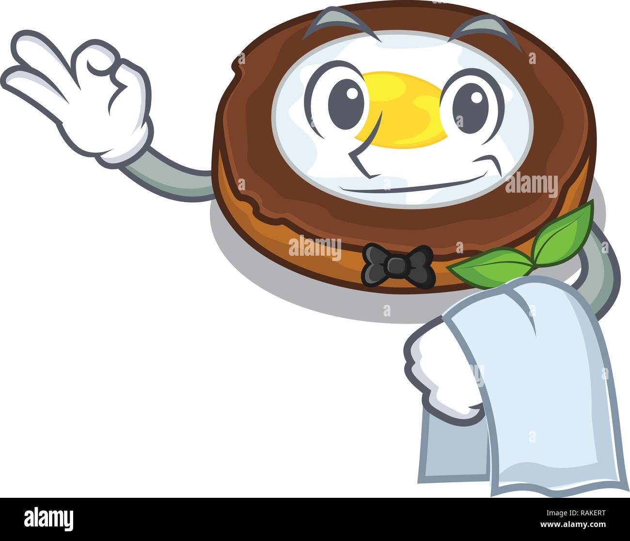 Waiter egg scotch on character wood boards - Stock Vector