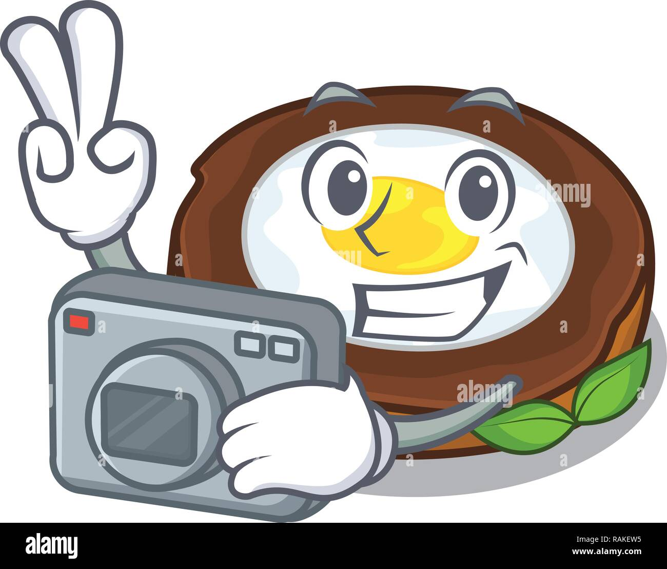 Photographer egg scotch on character wood boards - Stock Vector