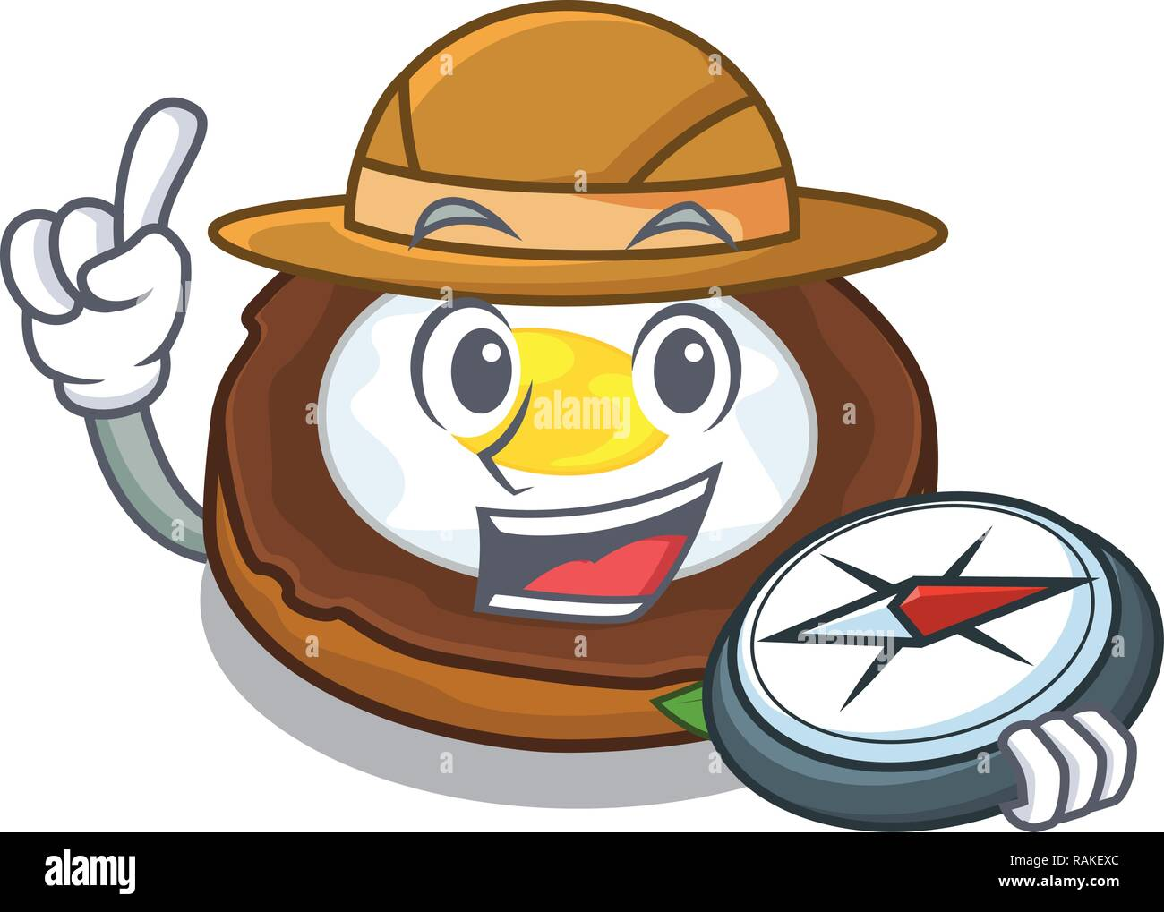 Explorer egg scotch on character wood boards - Stock Vector