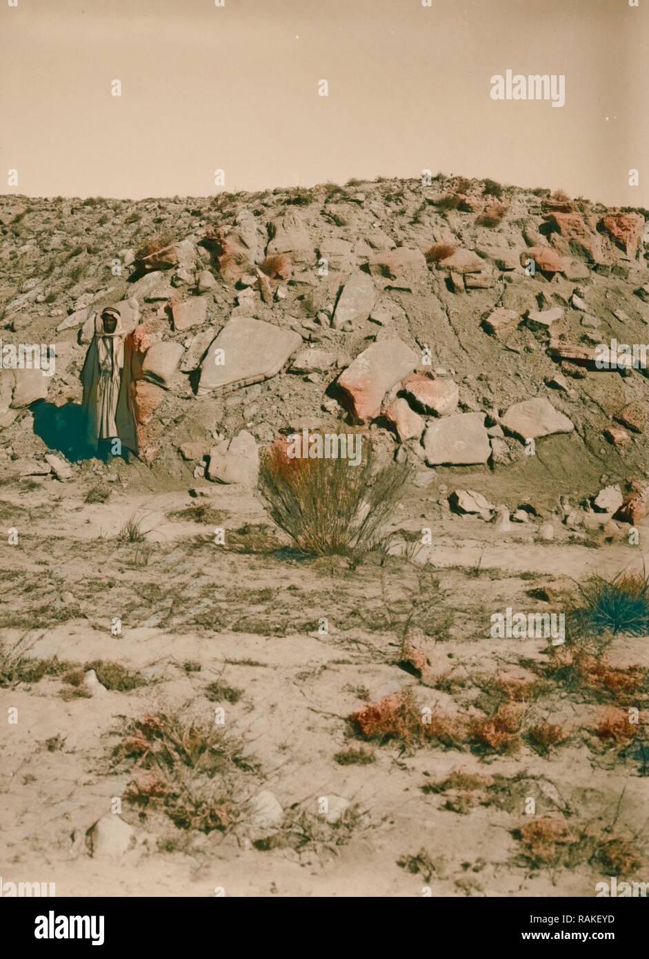 Geology. Neo Pliocene sand beds near Kurnub 1900, Israel, Mampsis (Extinct city). Reimagined by Gibon. Classic art reimagined - Stock Image
