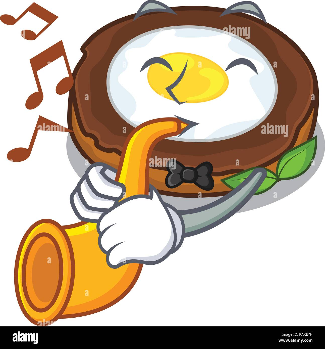 With trumpet egg scotch on character wood boards - Stock Vector