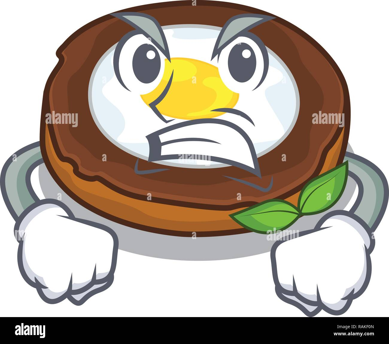 Angry egg scotch on character wood boards - Stock Vector