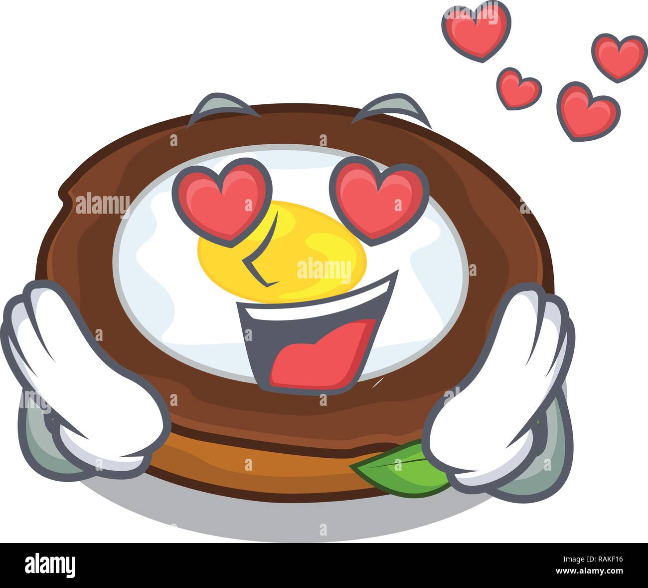 In love egg scotch on character wood boards - Stock Vector