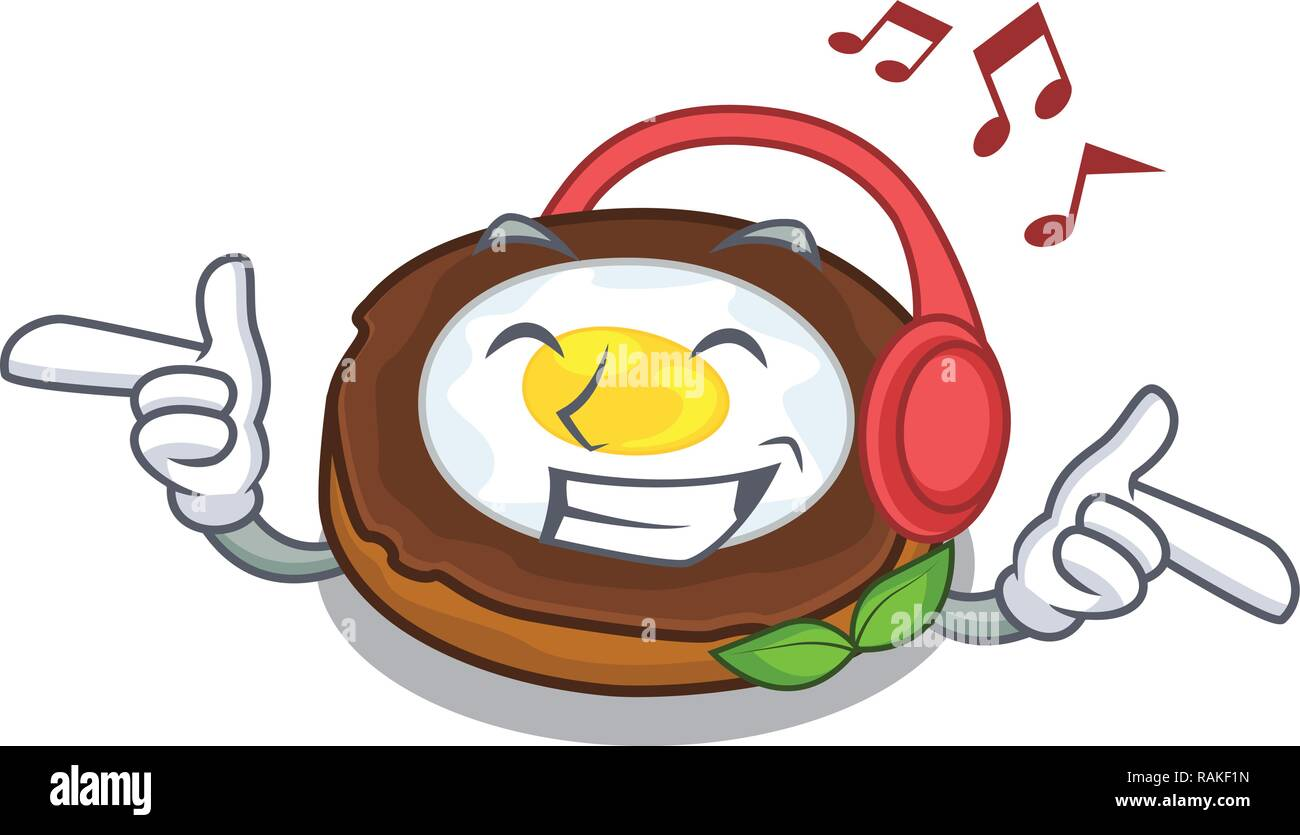 Listening music egg scotch on character wood boards - Stock Vector