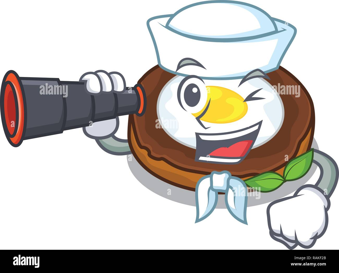 Sailor with binocular egg scotch on character wood boards - Stock Vector