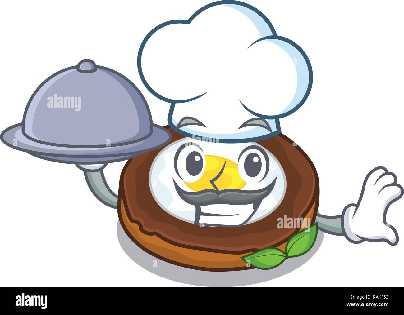 Chef with food egg scotch on character wood boards - Stock Vector