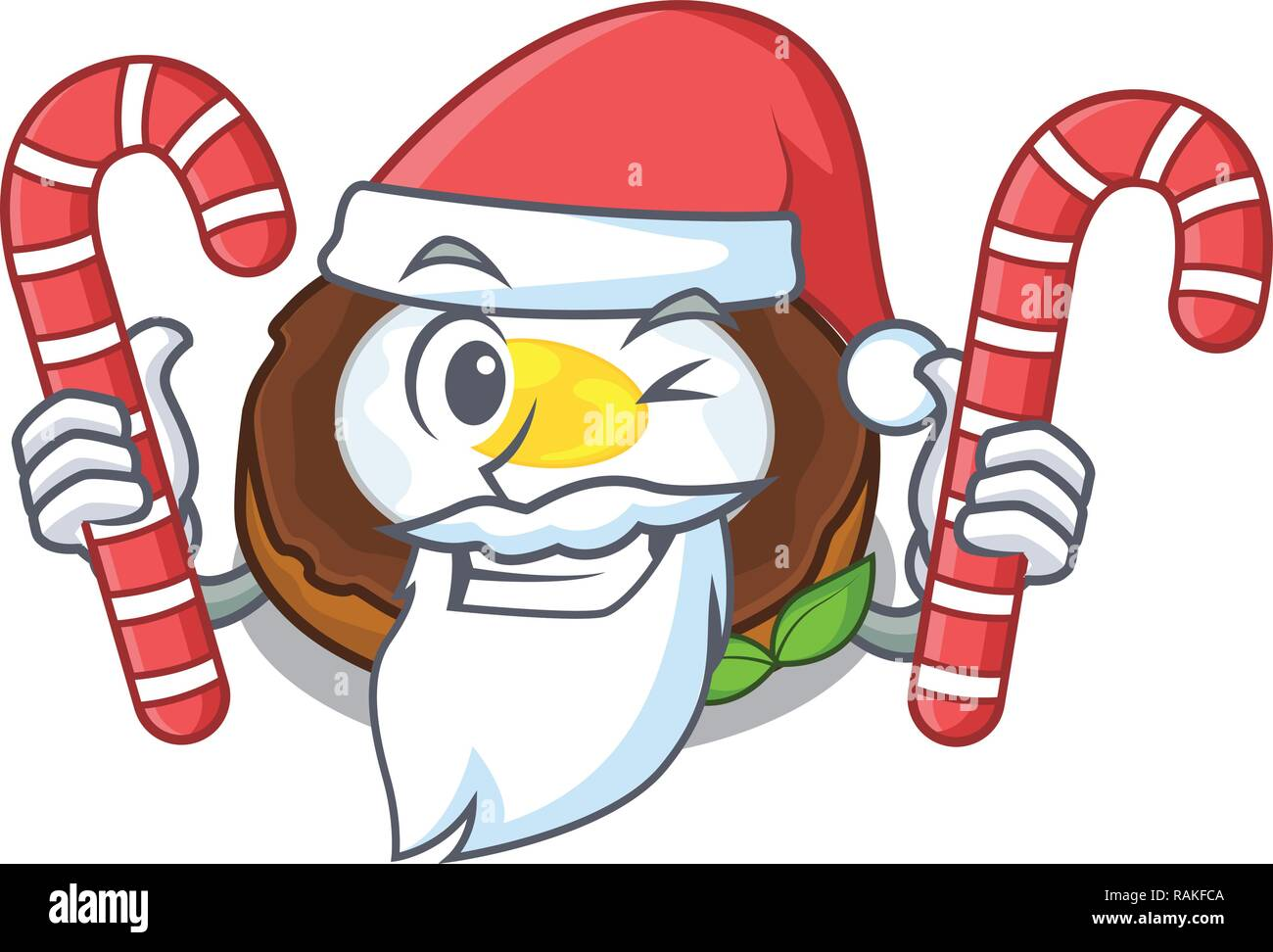 Santa with candy scotch eggs at the mascot bowl - Stock Vector