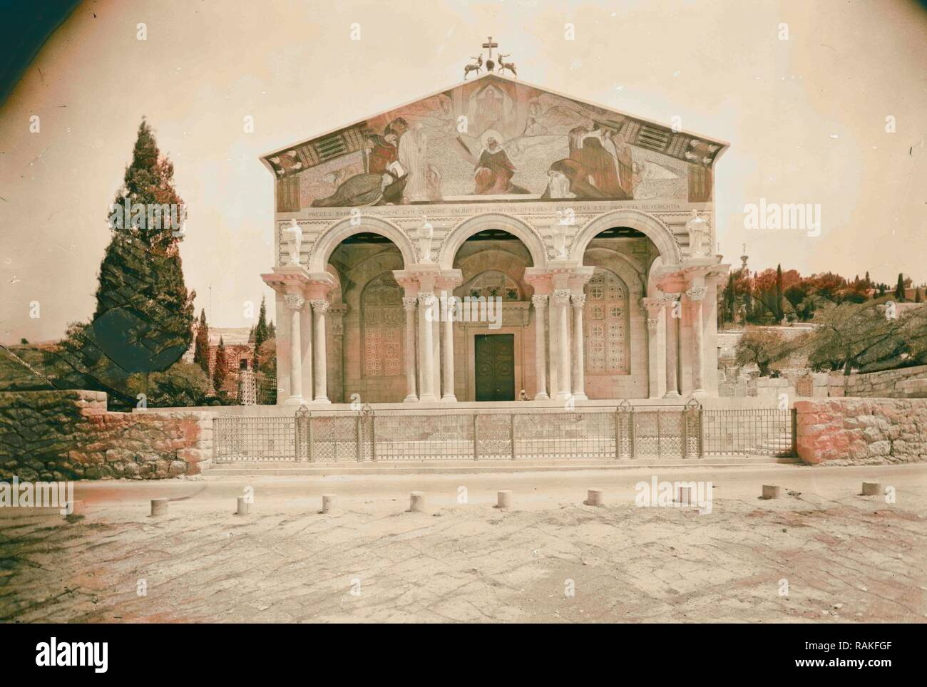 The Basilica of Gethsemane, Church of All Nations or Church of the Agony The fa ade showing portico and colorful reimagined - Stock Image