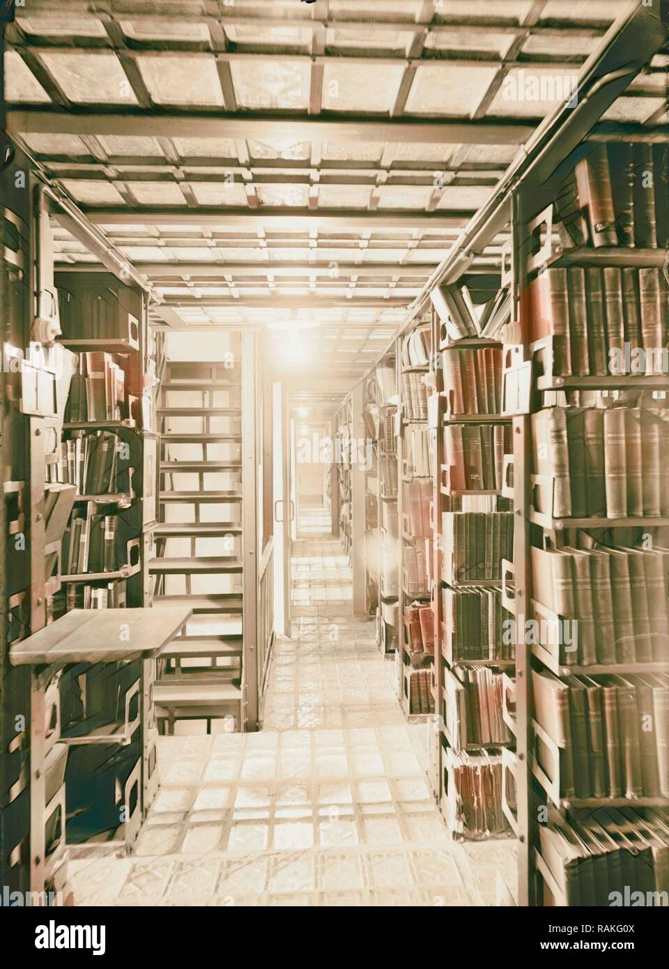 Zionist activities in Palestine. The Hebrew University Library. Book stacks. 1925, Jerusalem. Reimagined - Stock Image