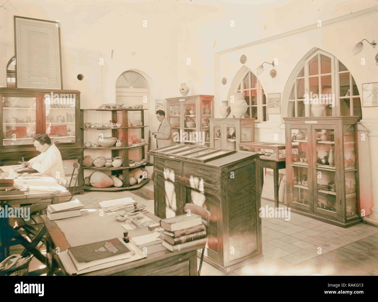 Zionist activities in Palestine. The Hebrew University. Archaeological Department. 1925, Jerusalem. Reimagined - Stock Image