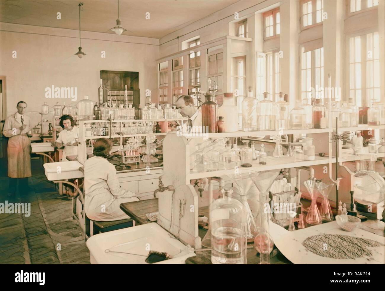 Zionist activities in Palestine. The Hebrew University. Chemistry laboratory. 1925, Jerusalem. Reimagined - Stock Image