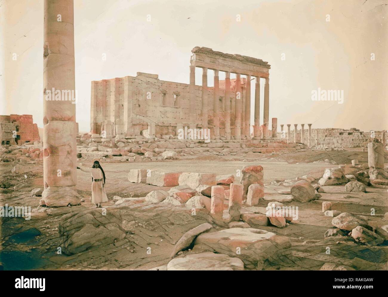 Palmyra. Temple of Baal. Eastern fa ade showing columns of the peristyle. 1920, Syria, Tadmur. Reimagined - Stock Image