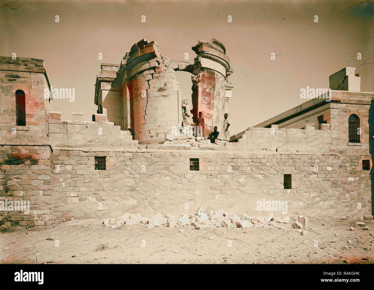 Palestine events. The earthquake of July 11, 1927. Shattered remains of St. John's Convent at the Jordan. A complete reimagined - Stock Image