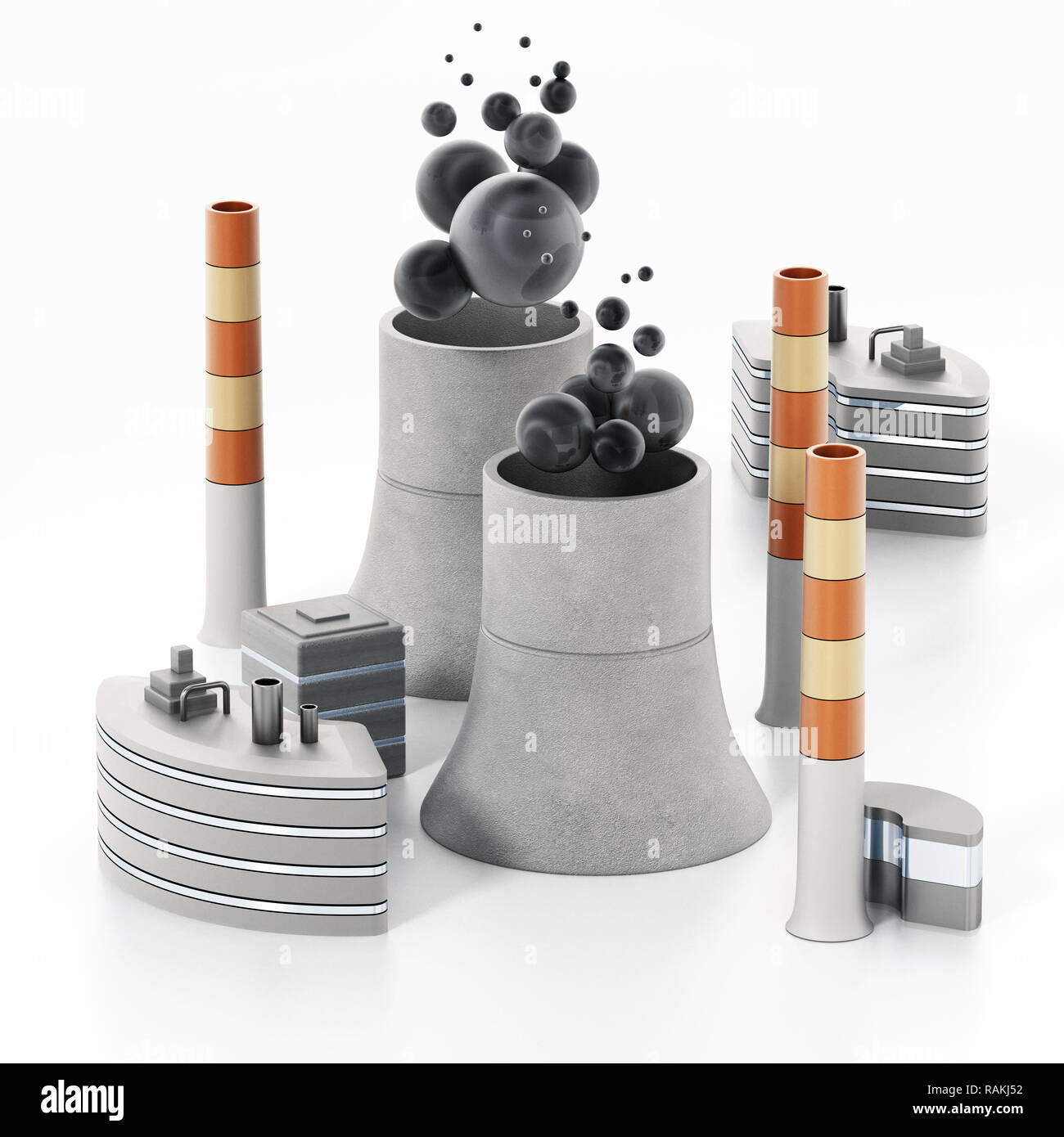 Nuclear plant isolated on white background. 3D illustration. - Stock Image