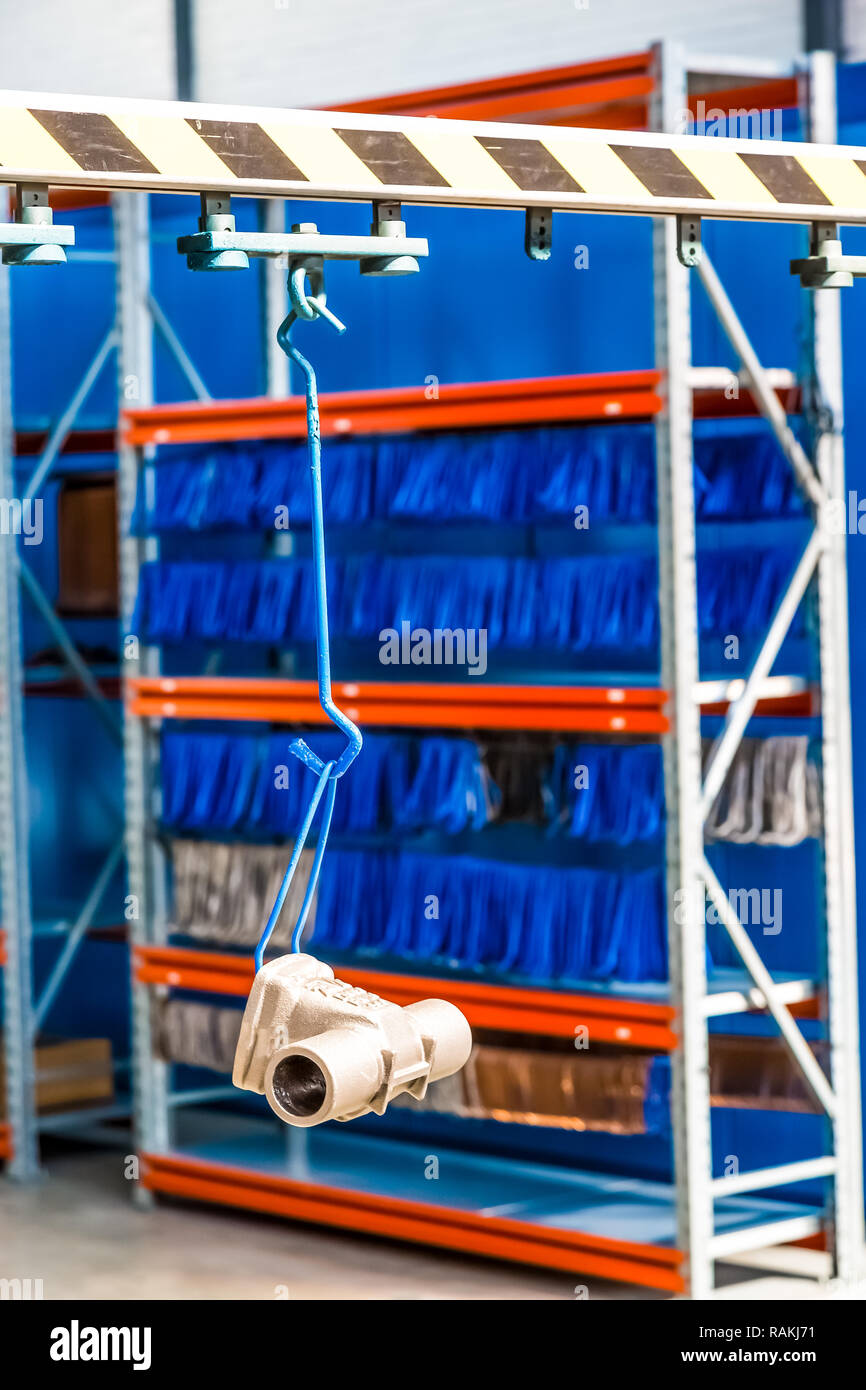 Johannesburg, South Africa - September 7 2016: Industrial Valve Manufacturing and Assembly Painting Facility Stock Photo