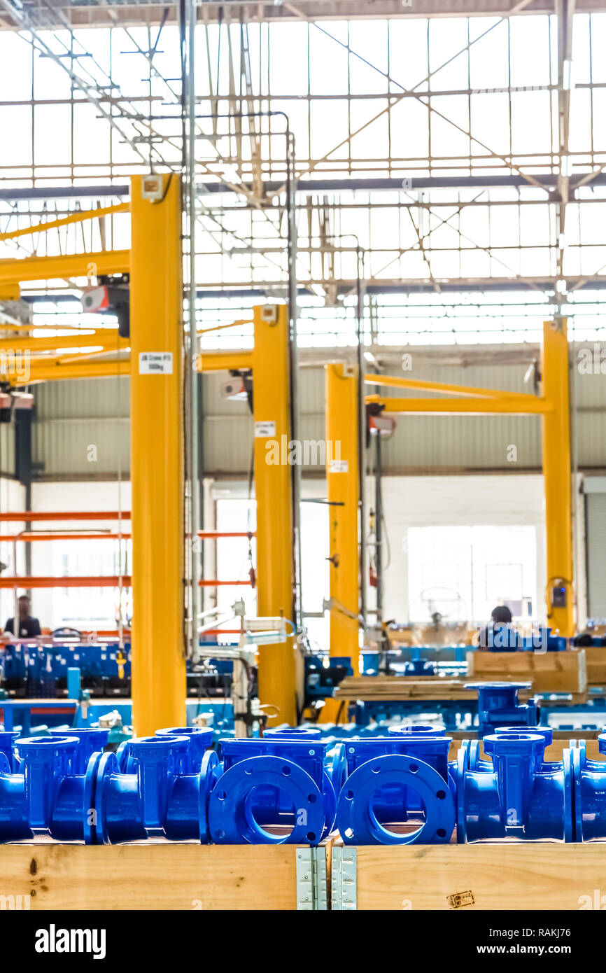 Johannesburg, South Africa - September 7 2016: Industrial Valve Manufacturing and Assembly Factory Facility Stock Photo