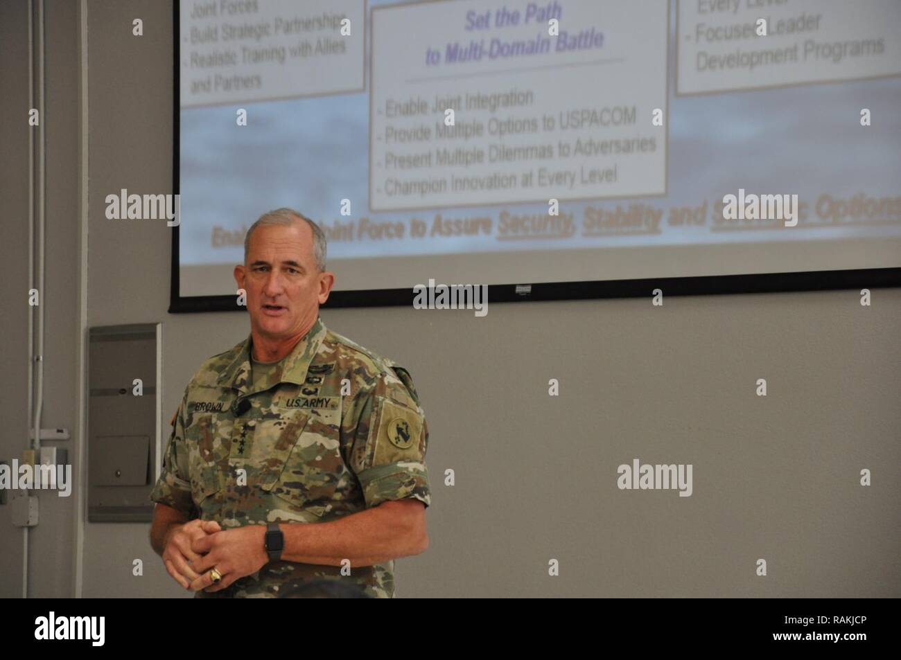 Gen. Robert B. Brown, Commanding General, U.S. Army Pacific (USARPAC) discusses the importance of readiness and integrating the 'Total Army' concept among all troops. - Stock Image