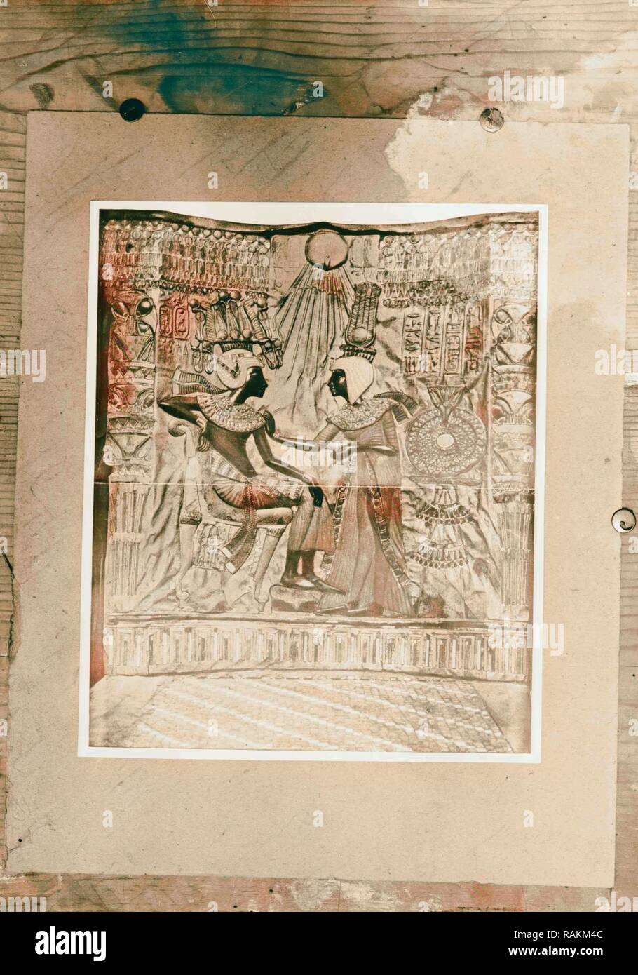 Items from Tutankhamen's tomb. Copies. 1922, Egypt. Reimagined by Gibon. Classic art with a modern twist reimagined - Stock Image