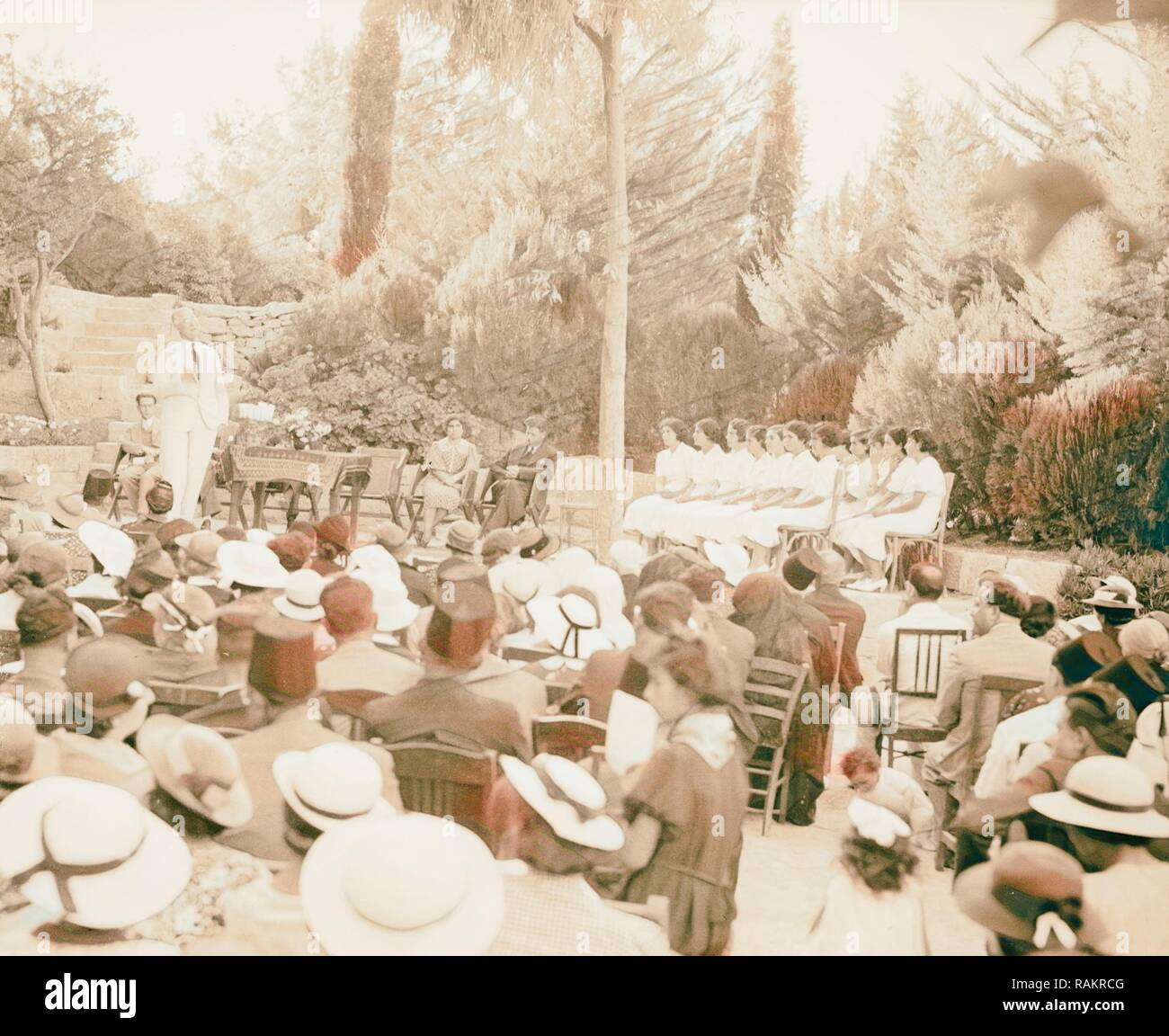 Ramallah Quaker Mission School photographed in 1937. 1937, West Bank, Rām Allāh. Reimagined by Gibon. Classic art reimagined - Stock Image