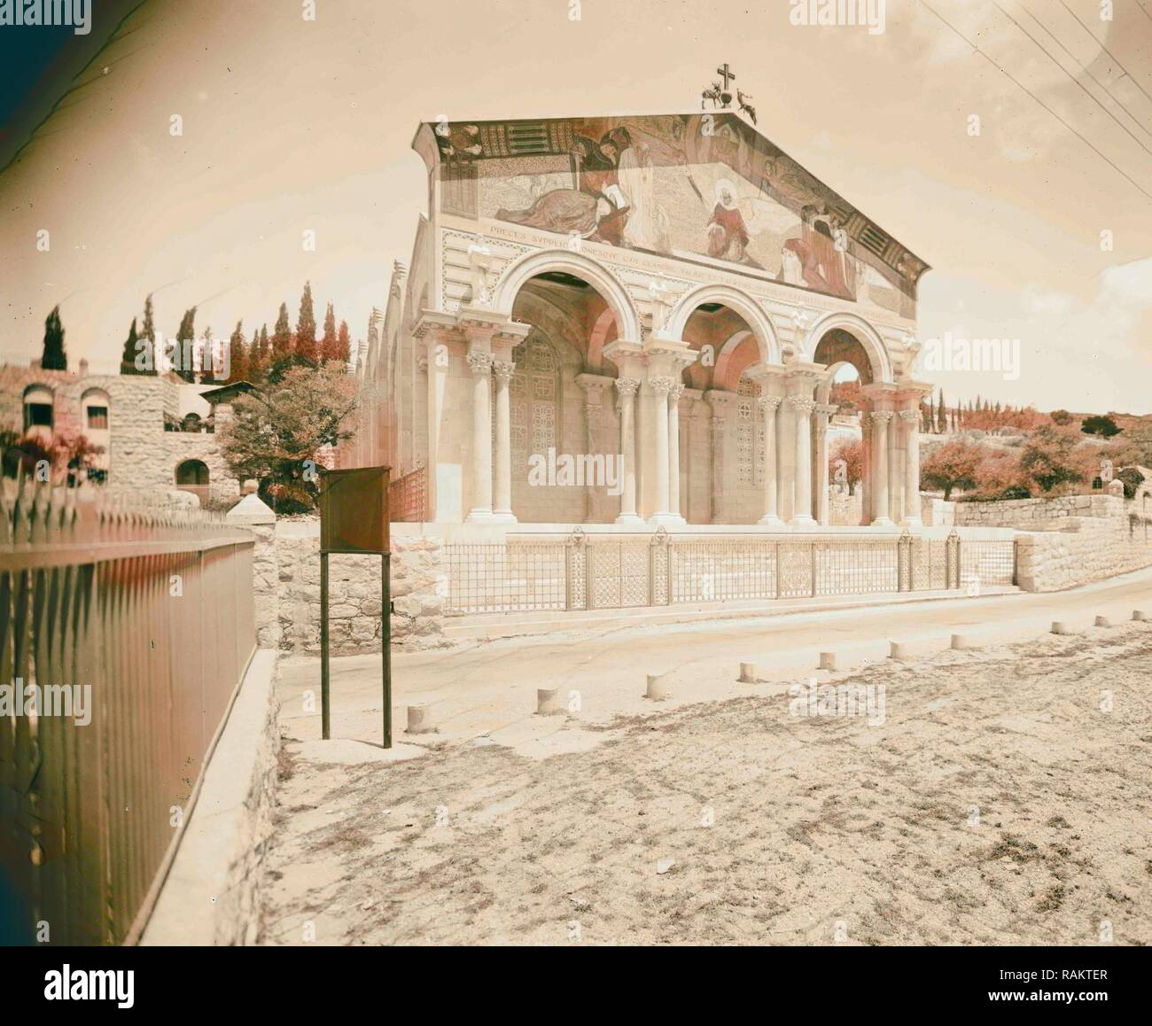 Byzantine style fa ade of the Gethsemane Basilica, Church of All Nations or Church of the Agony 1934, Jerusalem reimagined - Stock Image