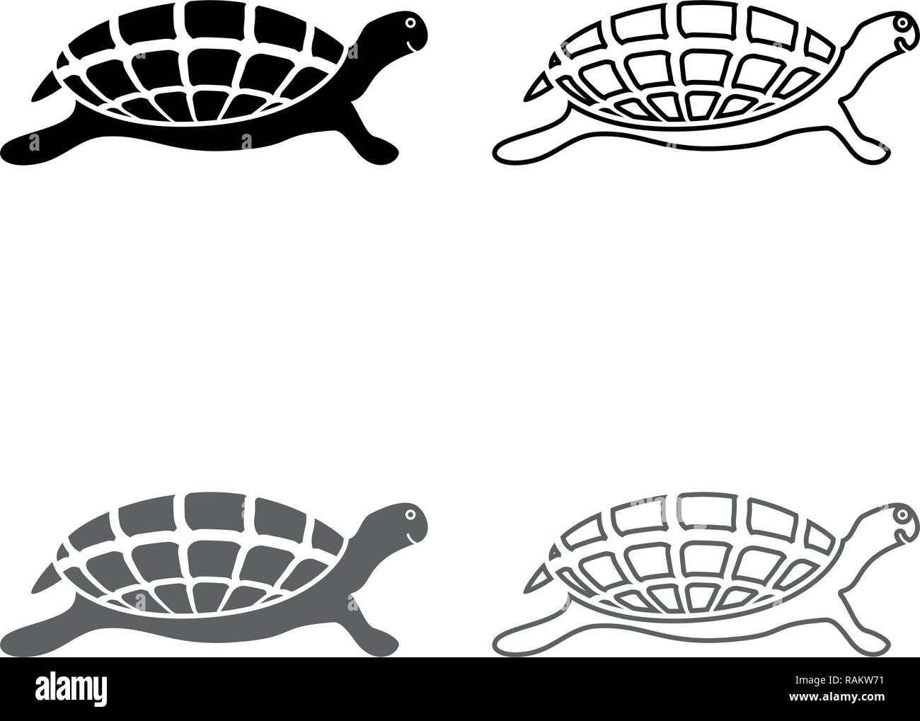 a5c36af5c Turtle tortoise icon set grey black color vector I outline flat style simple  image