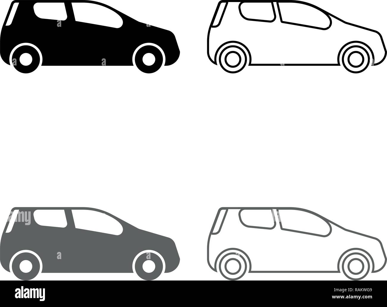 Mini car Compact shape for travel racing icon set grey black color vector I outline flat style simple image - Stock Image