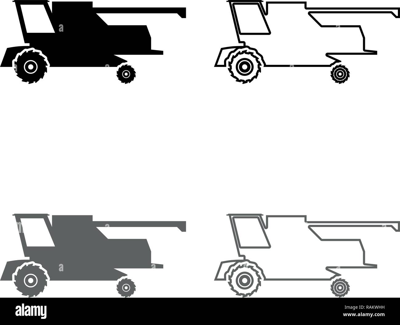 Farm harvester for work on field Combine icon set grey black color vector I outline flat style simple image - Stock Vector