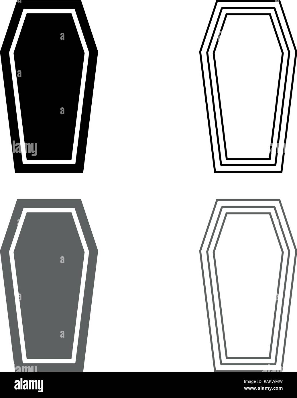 Coffin Insurance concept Funeral subject Lid coffin icon set grey black color vector I outline flat style simple image - Stock Vector