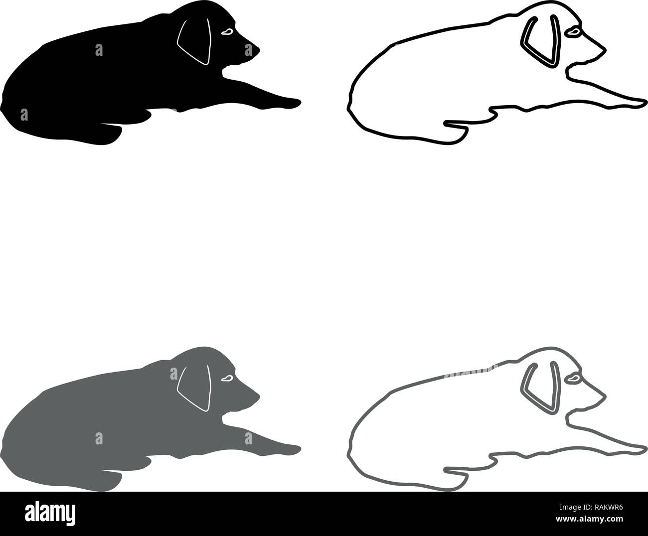 Dog lie on street Pet lying on ground Relaxed doggy icon set grey black color vector I outline flat style simple image - Stock Image