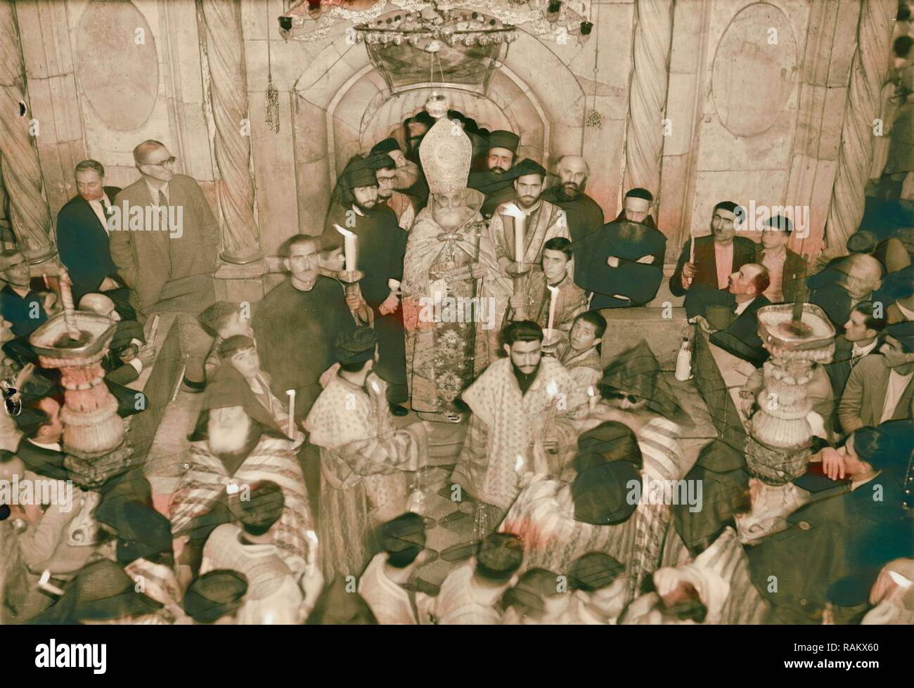 Calendar of religious ceremonies in Jerusalem Easter period 1941 Orthodox Holy Fire, Israel. Reimagined - Stock Image
