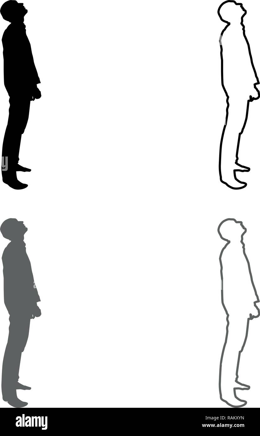 Man looks up silhouette icon set grey black color vector I outline flat style simple image - Stock Vector