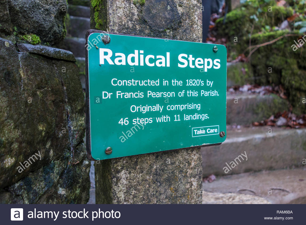 Sign for the Radical Steps in Kirkby Lonsdale, a small market town in South Lakeland, Cumbria, England, UK - Stock Image