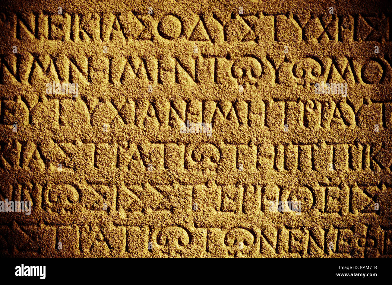 Antique Historical Ancient Greek Words on Marble Stone Stock