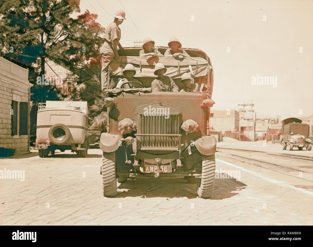 Palestine disturbances 1936. Army lorry, one of the many brought on above mentioned ships. 1936. Reimagined - Stock Image