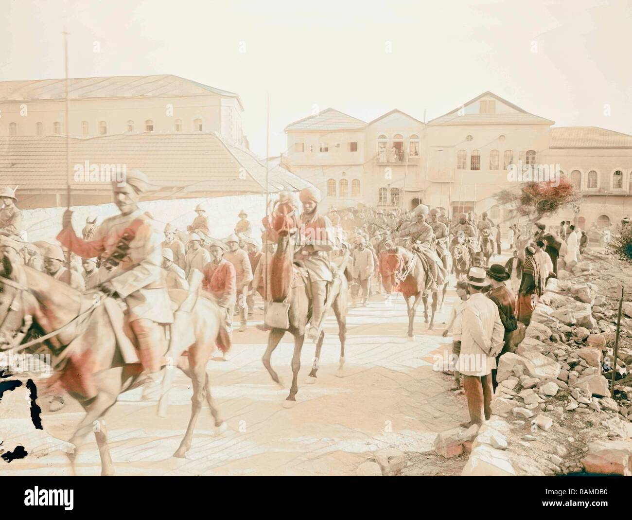 British Indian(?) lancers guarding marching prisoners 1917, Middle East, Israel and/or Palestine. Reimagined - Stock Image