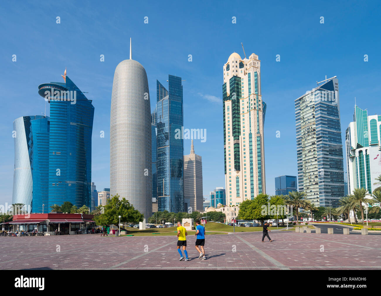 Daytime Skyline view of West Bay business district in Doha, Qatar Stock Photo