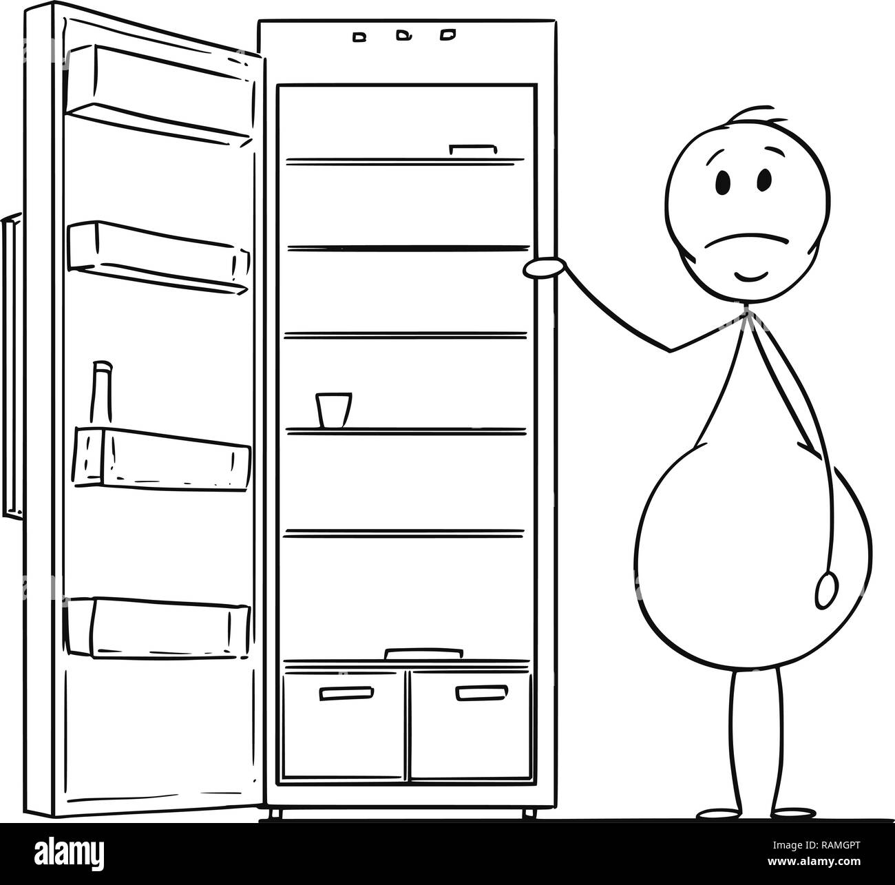 Cartoon of Hungry Obese or Fat Man and Empty Fridge or Refrigerator Stock Vector