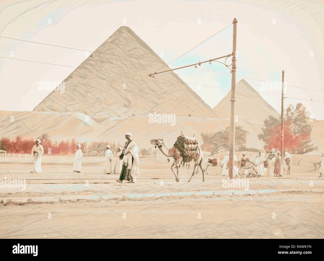 Pyramids of Gizeh. Two great pyramids from end of train line. 1934, Egypt, Jīzah, Jizah. Reimagined by Gibon. Classic reimagined - Stock Image