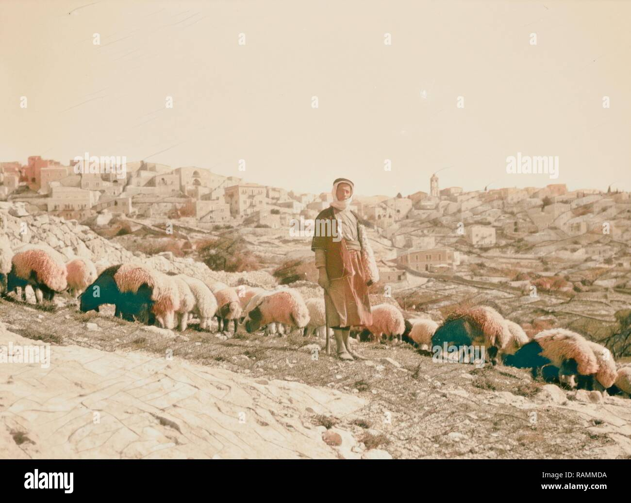 Bethlehem and surroundings. Bethlehem shepherd. 'Out of thee shall come forth one that shall shepherd my people reimagined - Stock Image
