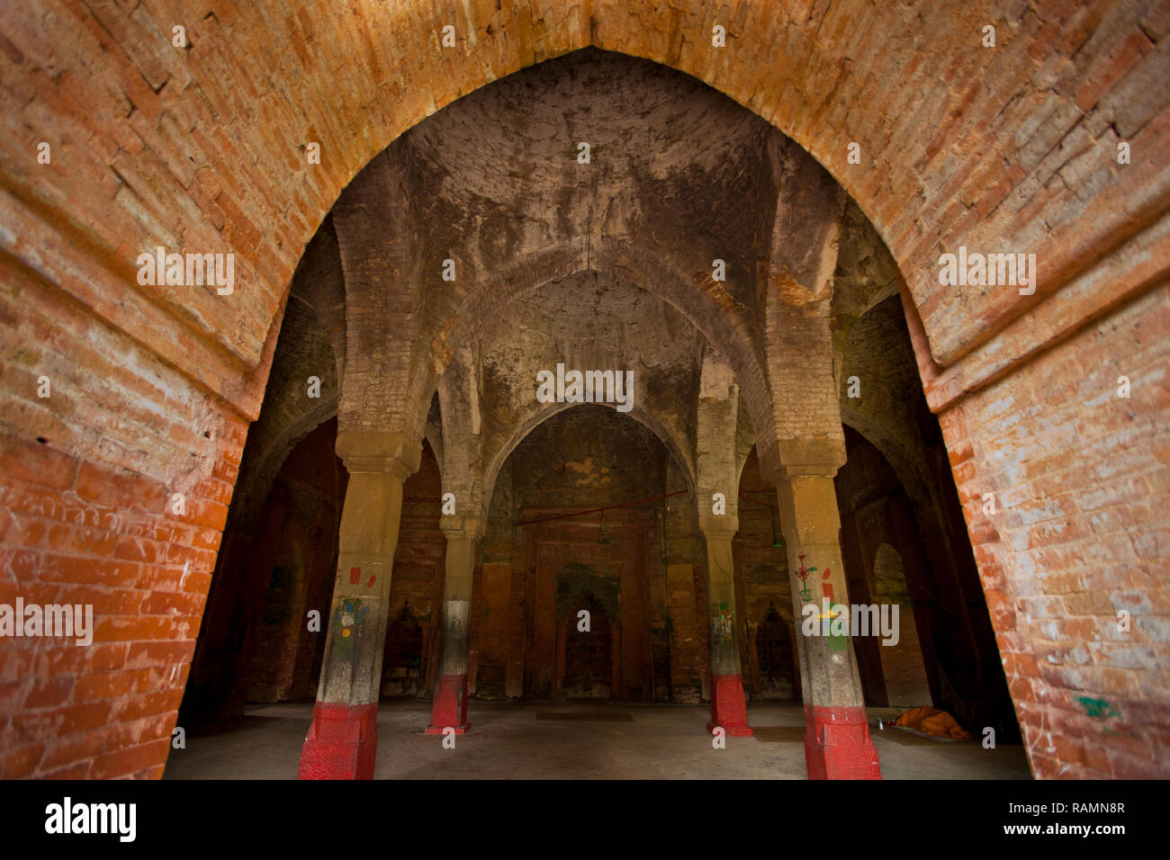 Inside view of the Nine Domed Mosque. Bagerhat, Bangladesh. - Stock Image