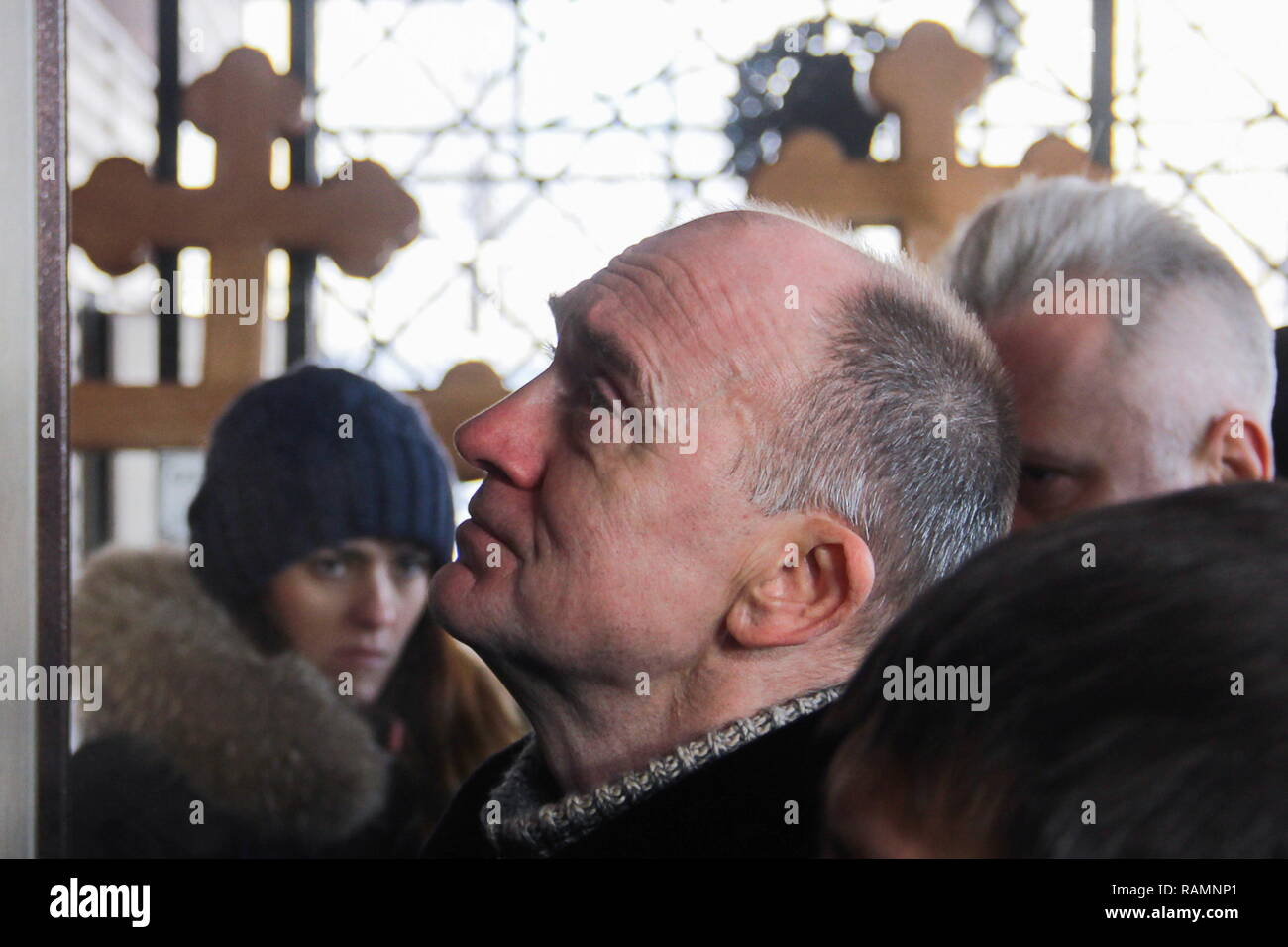 Magnitogorsk, Russia. 04th Jan, 2019. MAGNITOGORSK, RUSSIA - JANUARY 4, 2019: The Governor of Chelyabinsk Region, Boris Dubrovsky, at the funeral of gas explosion victims; a section of a ten-storeyed apartment block collapsed at 164 Karla Marksa Street in Magnitogorsk, Russia, early on 31 December 2018 following a gas explosion; 39 people have been killed in the accident. Ilya Moskovets/TASS Credit: ITAR-TASS News Agency/Alamy Live News - Stock Image