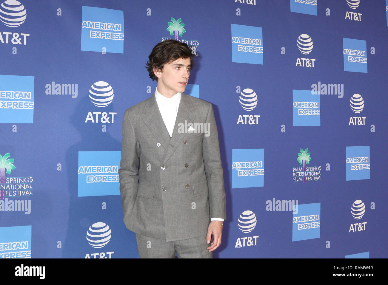 Palm Springs, CA, USA. 3rd Jan, 2019. PALM SPRINGS - JAN 17: Timothee Chalamet at the 30th Palm Springs International Film Festival Awards Gala at the Palm Springs Convention Center on January 17, 2019 in Palm Springs, CA Credit: Kay Blake/ZUMA Wire/Alamy Live News - Stock Image