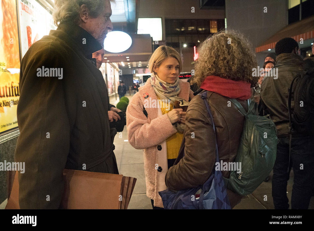 "New York, NY, 3 January 2019 - Celia Keenan-Bolger, who plays Scout Finch in the Broadway production of ""To Kill a Mockingbird,"" with fans after the show. Aaron Sorkin's adaption of Harper Lee's novel shattered records in its second full week of performances, grossing $1.702 million. That makes it the highest single-week grossing American play in Broadway history. Photo: Credit: Terese Loeb Kreuzer/Alamy Live News - Stock Image"