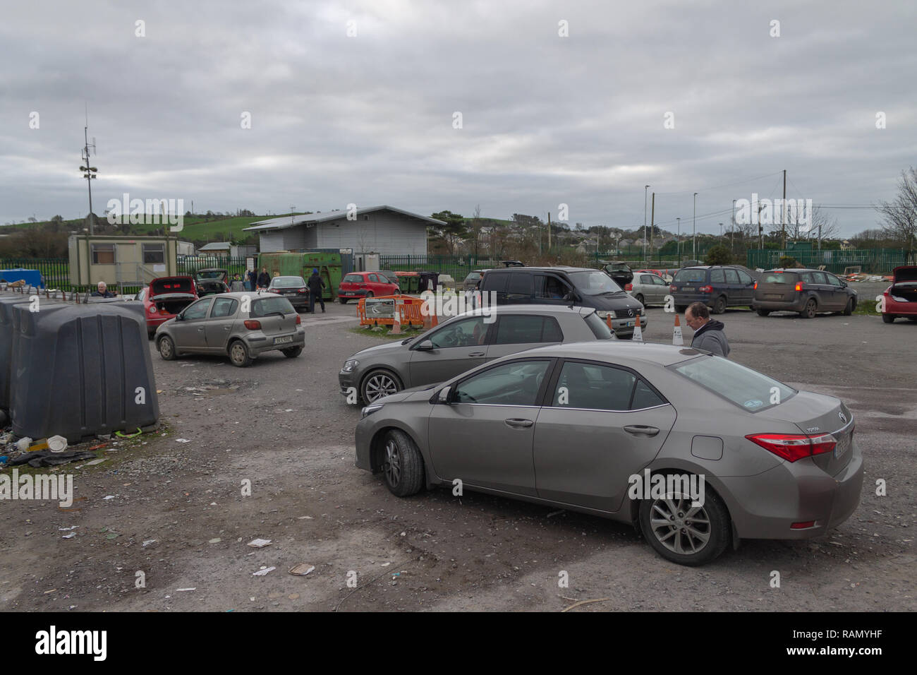 Skibbereen, West Cork, Ireland, January 04th 2018. Large crowds were filling the recycle yard in Skibbereen today, most of it was Christmas packaging being emptied out of the houses. Credit: aphperspective/Alamy Live News - Stock Image