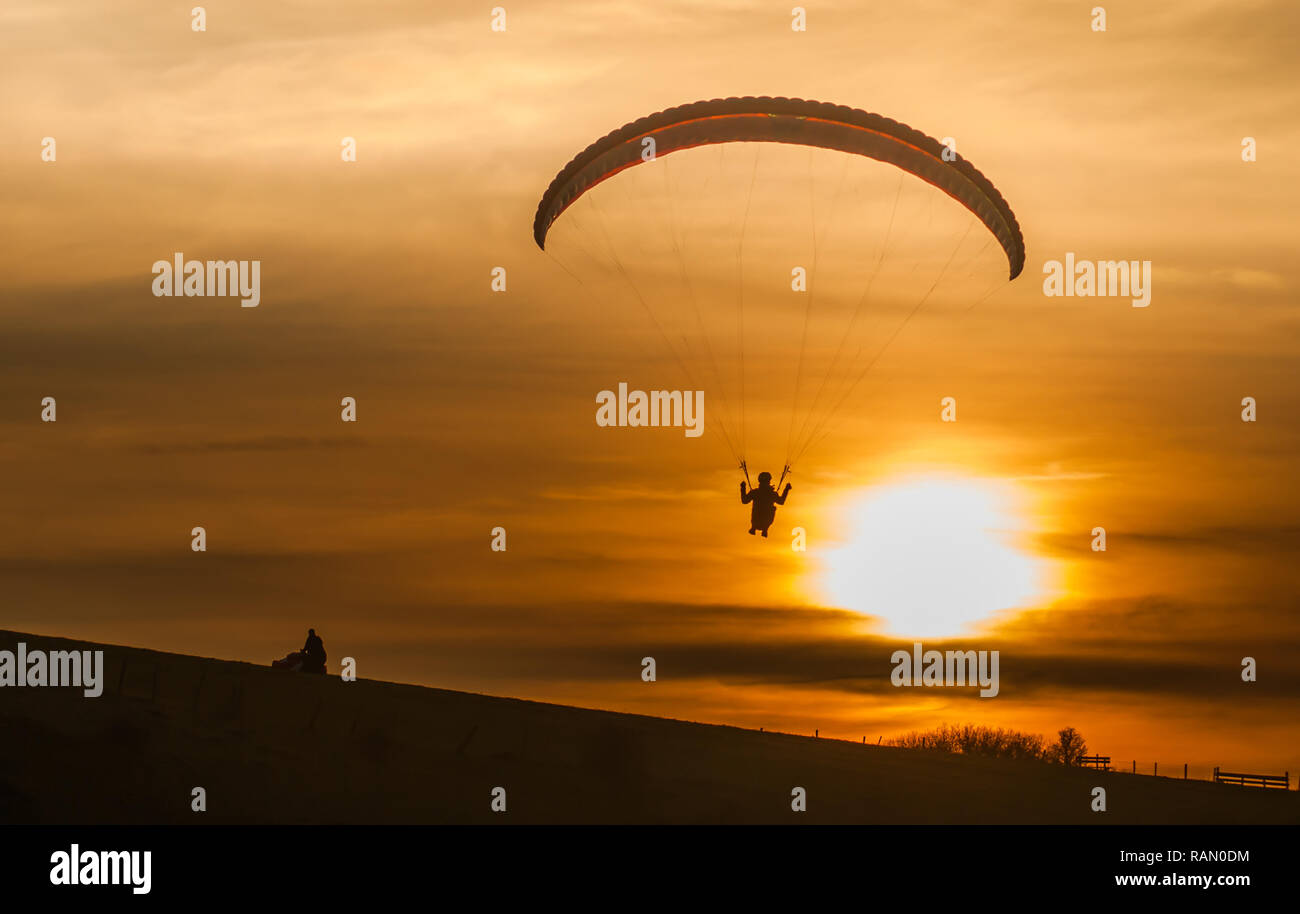 Firle, Lewes, East Sussex, UK  4th Jan, 2019  Paragliding in the