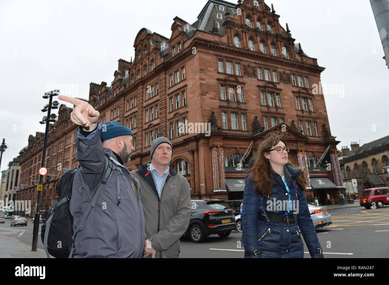 Edinburgh, Scotland, UK. 4th January, 2019. Public Health Minister Joe FitzPatrick joins the Edinburgh Access Practice Street Outreach Pharmacist on a walkabout around Edinburgh. The service provides essential primary health care for homeless patients (Left - Right: David Miller - Streetwork Councillor; Joe FitzPatrick - Public Health Minister; Lauren Gibson - Outreach Pharmacist). Edinburgh, UK - 4th January 2019. Credit: Colin Fisher/Alamy Live News - Stock Image