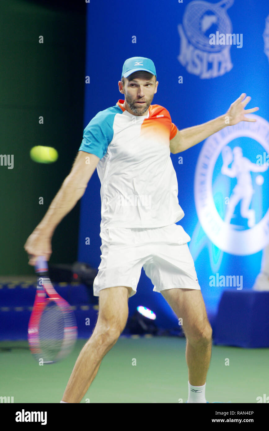Pune India 4th January 2019 Ivo Karlovic Of Croatia In Action In