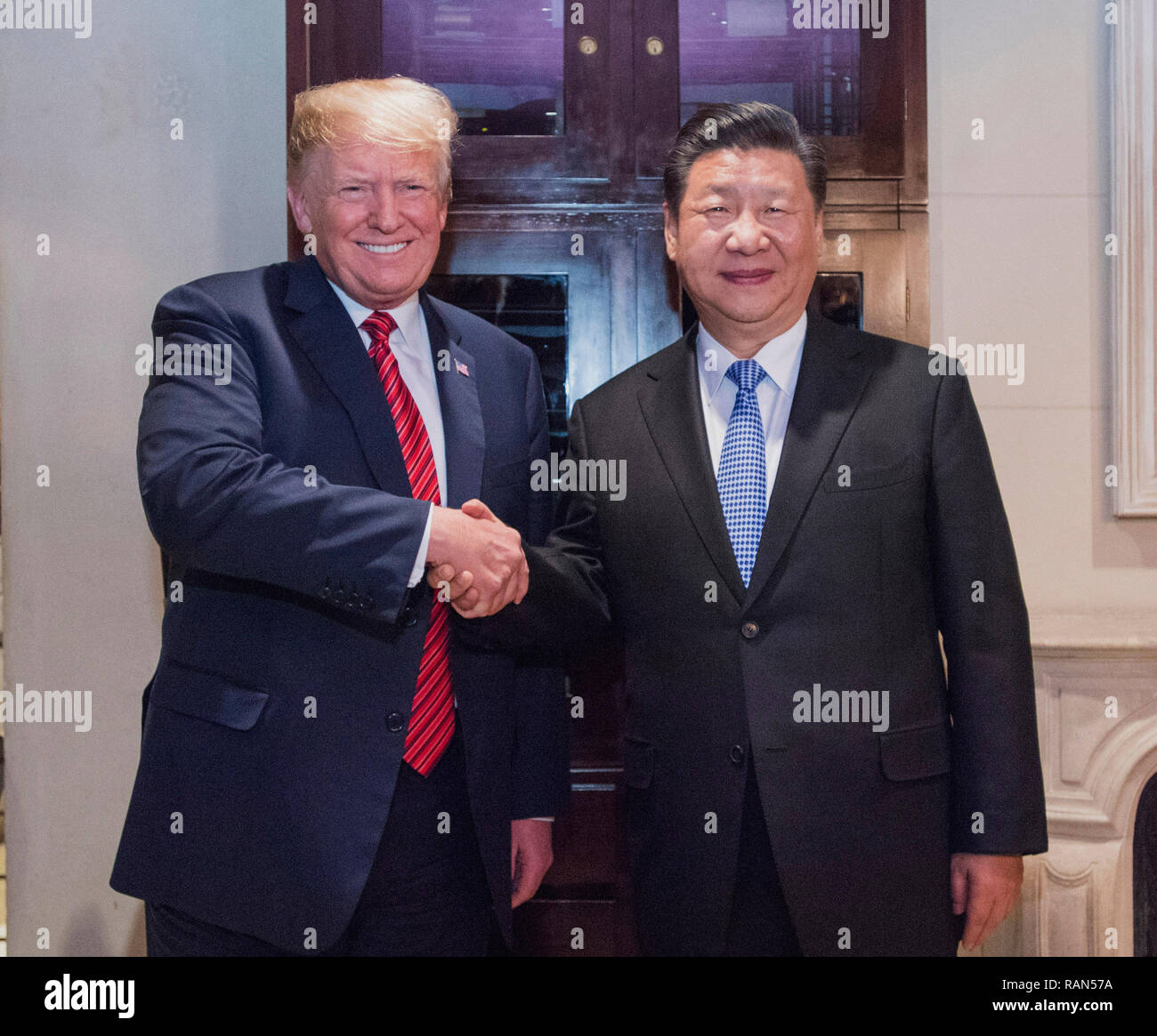 Beijing, Argentina. 1st Dec, 2018. Chinese President Xi Jinping (R) meets with his U.S. counterpart Donald Trump in Buenos Aires, Argentina, Dec. 1, 2018. President Xi attended a working dinner with President Trump in Buenos Aires. Credit: Li Xueren/Xinhua/Alamy Live News - Stock Image