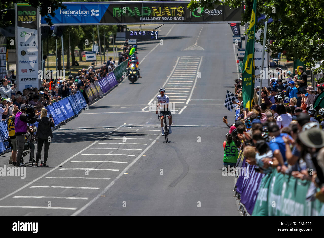 Ballarat, Victoria, Australia. 5th January, 2019. Partick Eddy comes accross the finish line  to win the 2019 Cycling Australia Road National Chapionships Under 19 Mens Road Race.The Race was over 104.4 kms Eddy completed the course in 2hrs48. Credit: brett keating/Alamy Live News - Stock Image
